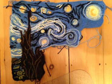 More done on the tree, and filled in a bit more of the sky beneath the moon. I've definitely got the proportions a bit wrong there, but I can increase the size of the moon a bit with surface and sl st crochet. Then onto that yellowish streak, more tree, and finally the village (which yes, I'm still trying to work out how to do).