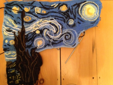 Pondering adding another blue - yes, at this late stage. A royal-type blue, just for some of the surface crochet. I need to check what I've got in my stash. Meanwhile, today I have done some more of the yellowish streak (base of light blue) and some more work around the moon.